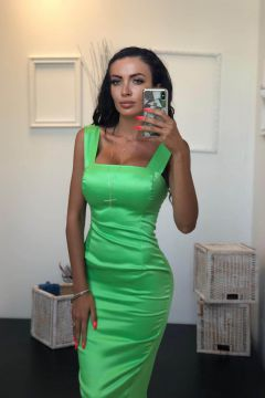 Sobrany Bogas Green Evening Dress