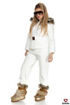 Shania Bogas White Ski Suit