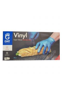 Set of 100 Blue Vinyl Protection Gloves Bogas